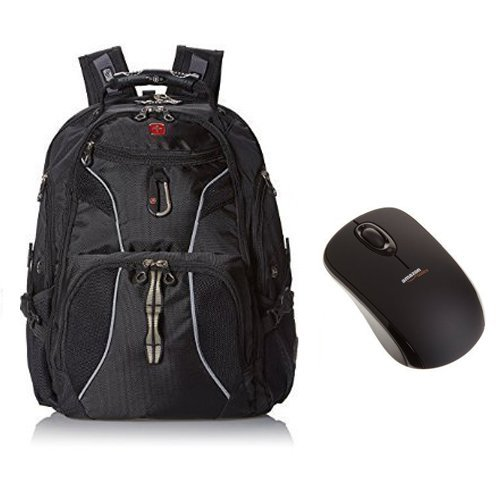 SwissGear ScanSmart Laptop Computer Backpack SA1923 (Black) Fits Most 15 Inch Laptops and AmazonBasics Wireless Mouse with Nano Receiver ()