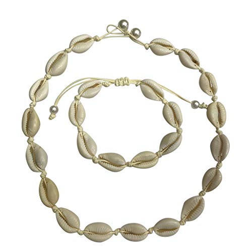 (Shell Choker Necklace Natural Handmade Pendant Hawaii Sea Bead Bracelet Set Jewelry for Women Girl Lady (Beige, Free))