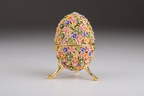 Gold with Colorful Flowers Easter Egg Handmade Faberge Styled Trinket (Egg Flower)