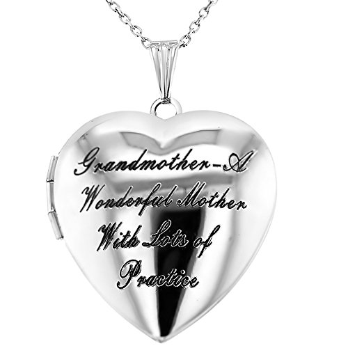 Grandmother Locket - In Season Jewelry Heart Shaped Photo Locket Grandmother Granddaughter Love Pendant Necklace 19