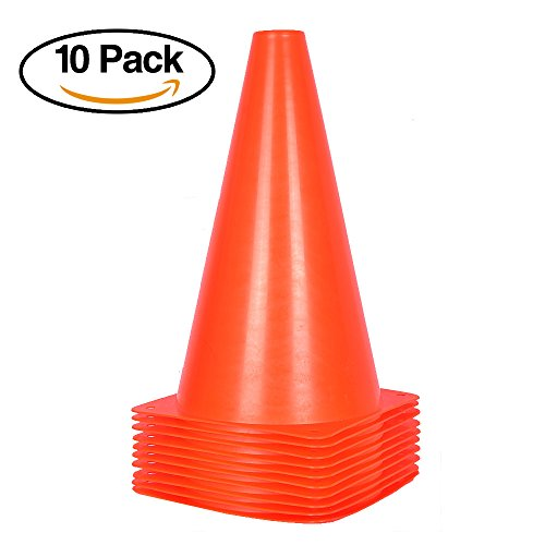 9 inch Orange Traffic Cones – 10 Pack of Field Marker Cones for Outdoor Activity & Festive Events ()