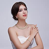 MOOCHI 18K Gold Plated Shinning Wide Necklace Crystal Jewelry Sets Necklace Earrings Bracelet Ring Earrings