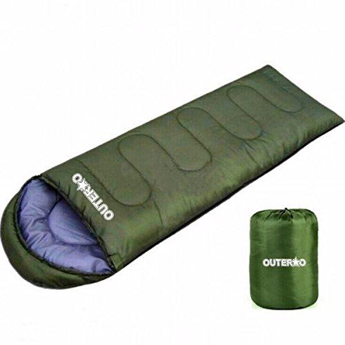 OUTERDO tragbar, warm Umschlag Schlafsack Baumwolle Hüttenschlafsack, Outdoor Wasserdicht Camping Sleeping Bag mit Zip Gruen