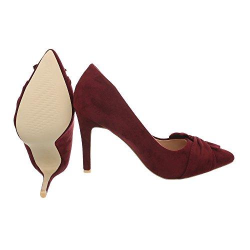 Ital-Design High Heel Pumps Damenschuhe Pfennig-/Stilettoabsatz Heels Weinrot 7565