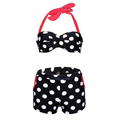 [Elakaka Black White Polka Dot High Waist Halter Bikini Swimsuit(Size,S)] (Witch Coustumes)