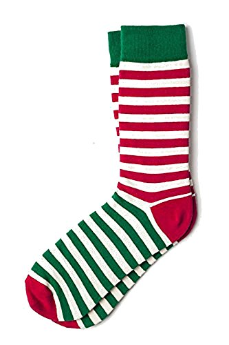 Mens Christmas Elf Red   Green Striped Crew Dress Socks