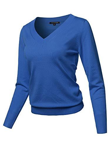 Casual Premium Quality Thick Neck Line Pullover V-neck Sweater Top Cobalt Blue L