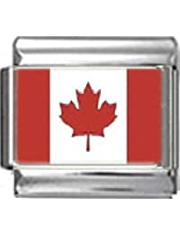 Stylysh Charms CANADA CANADIAN FLAG Photo Italian 9mm Link PC032