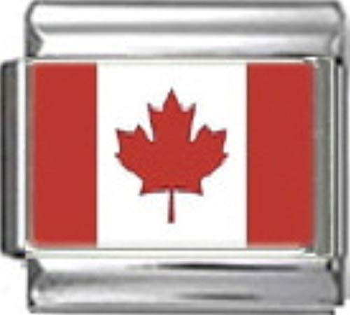 - Stylysh Charms Canada Canadian Flag Photo Italian 9mm Charm PC032 Fits Nomination Classic