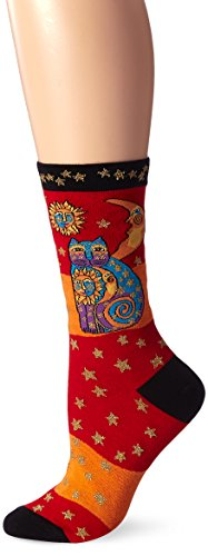 K. Bell Laurel Burch Celestial Cat Sock 1 Pair, Orange/Red, Women's 9-11 Shoe