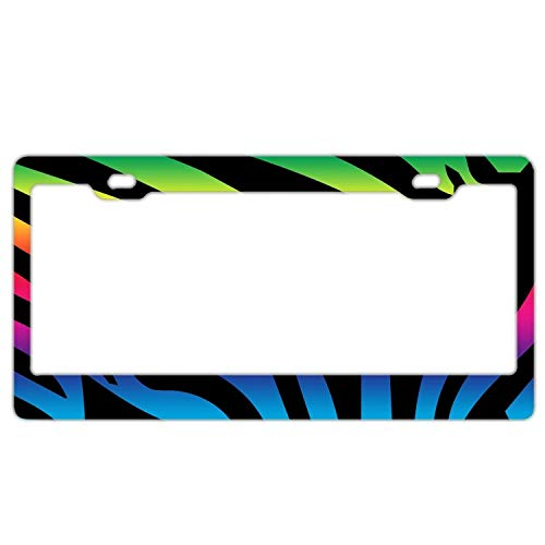 Car License Plate Frames,Car tag Cover Durable Stainless Steel License Plate Cover Zebra Stripes Rainbow