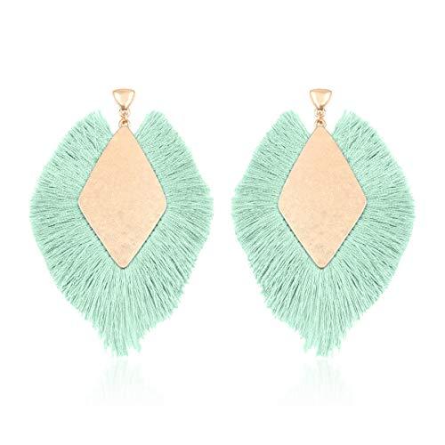 RIAH FASHION Bohemian Silky Thread Tassel Statement Drop Earrings - Strand Fringe Lightweight Feather Shape Dangles/Diamond Fan/Triangle Duster/Leatherette Teardrop (Diamond Fringe Drops - Mint)