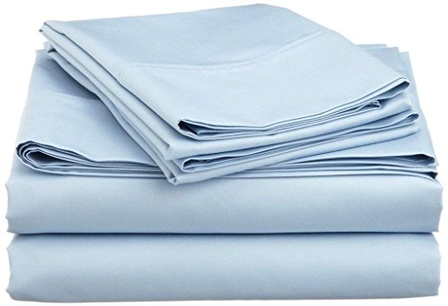 "Jenylinen Full Size Sleeper Sofa Bed Sheet Set (54"" x 72"" x 6"") 100% Egyptian Cotton { Light Blue Solid } 500 Thread Count!!"