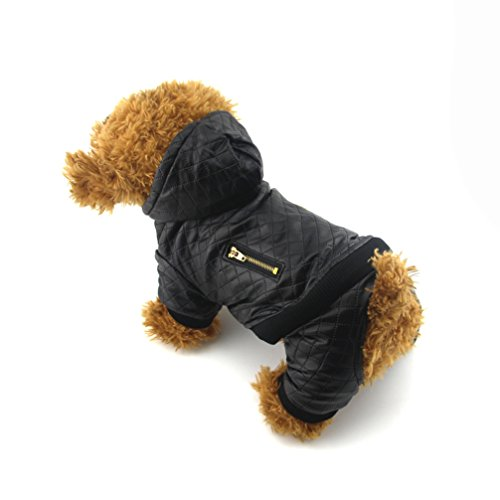 Be Good Dog Leather Coat Durable Fall Winter Cold Weather Warm Dog Leather Jacket Waterproof Windproof Fahsion Dog Apparel for Small Medium Dogs Puppies Black S Biker Dog Dog Costume