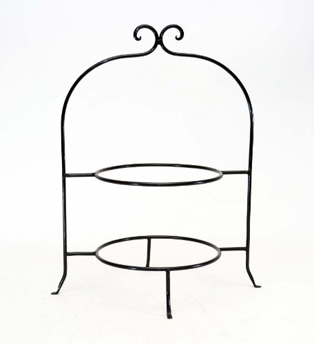 WROUGHT IRON TWO TIER PLATE RACK, 8 INCH RINGS-16.5 INCHES HIGH (Wrought Iron Dessert)