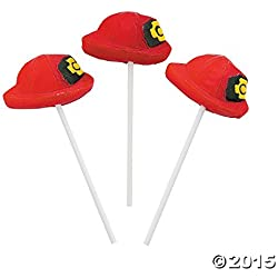 Fun Express Firefighter Hat Shaped Suckers - 12 Pieces