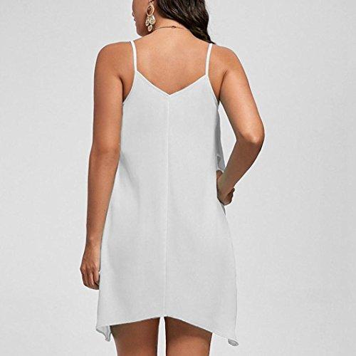 Mode Robe V Blanc Camisoles des sans Femme Manches Manadlian Cou Robe La Volants Flowy Mini Superposition Femme Femmes Solide Robe Chic dYn6gqT