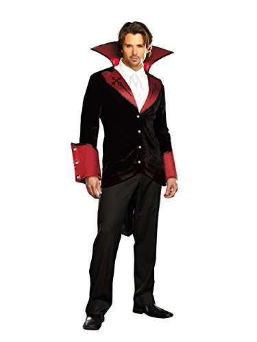Adult Dreamgirls Costumes (Dreamgirl Men's Just One Bite Vampire Costume Set with Pants, Black, Large)