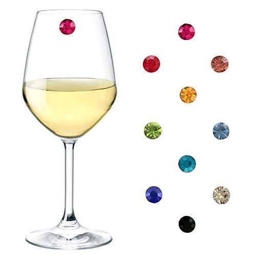 Magnetic Wine Glass Charms Crystal Set of 10, Wine Glass Markers, Wine Glass Charms for Stemless Glasses, Glass Identifiers, Drink Markers, Wine Glass Tags, Wine Glass Markers Magnetic, Simply Charmed]()