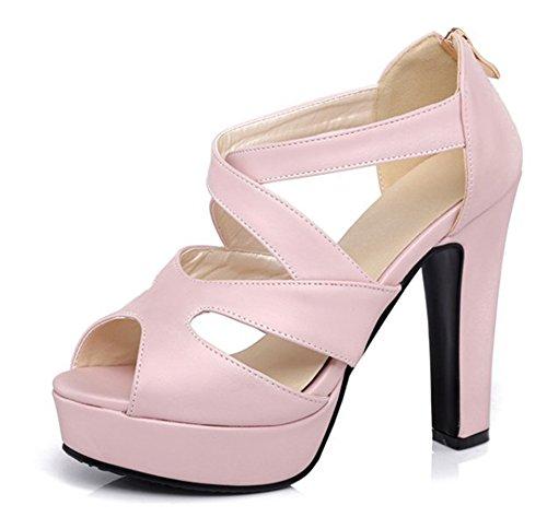 Out Toe Sandale Reißverschluss Rosa Damen Peep Sexy Trichterabsatz Plateau Cut mit Aisun wtqHXKBt