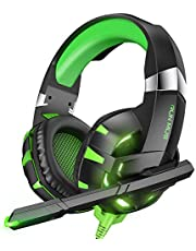RUNMUS Gaming Headset Xbox One Headset PS4 Headset with Noise Canceling Mic & LED Light, Compatible with PC, PS4, PS5, Xbox One Controller(Adapter Needed), Green