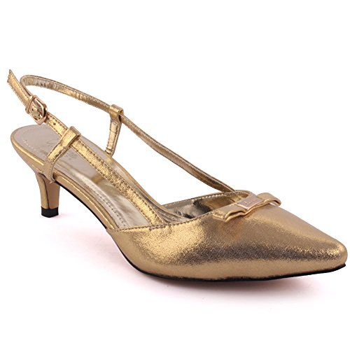 Unze Femmes 'Jackey' Tiny Bow Pointed-Orteil mi-Bas Talon Party Prom Get Together Carnaval Office Evening Sandales Talons Court Chaussures Grande-Bretagne Taille 3-8 Or