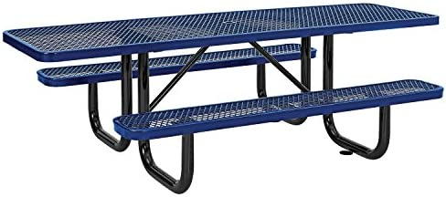 8 ADA Picnic Table, Surface Mount, Blue 96 Long