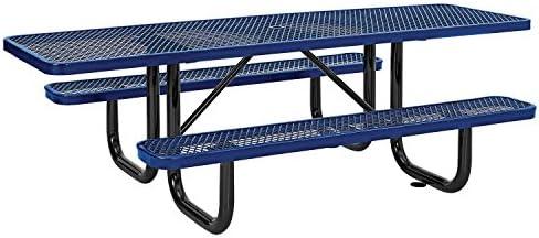8 ADA Picnic Table, Surface Mount, Blue 96 Long