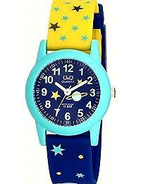Relógio Masculino Infantil Azul e Amarelo Q&Q Prova D'Água