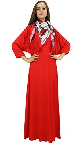 Bimba Frauen Boho Maxi-Kleid mit Quaste Schale Designer Sommer-Abnutzung Rot