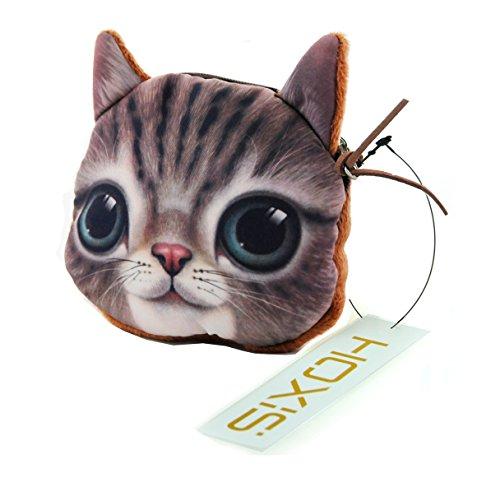 Hoxis Lovely Cat Coin Zipper Purse/Cartoon Mini Cotton Wallet Novelty Design
