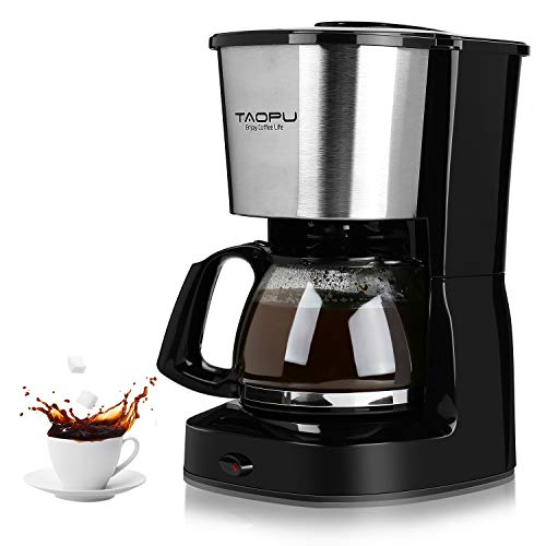 Coffee Maker,Drip Coffee Maker with 0.65L/4-6 Cups with Glass Carafe and One Touch Button,Coffee Machines With Stainless Steel Decoration(Black)
