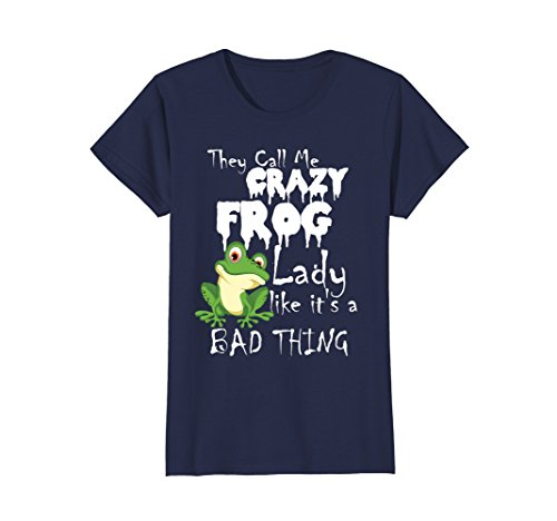 Womens They Call Me Crazy Frog Lady Funny Love Shirts Large ()