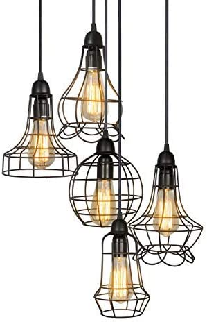 Electro_bp Rustic Barn Metal Chandelier Max 200w with 5 Light Bulbs Included