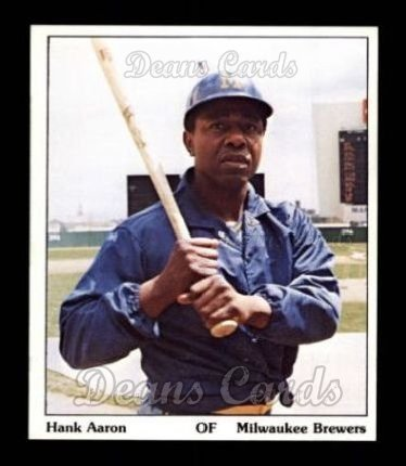 1975 SSPC Puzzle Back # 1 Hank Aaron Milwaukee Brewers (Baseball Card) Dean's Cards 7 - NM Brewers -