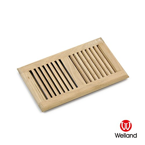 WELLAND Hardwood Self Rimming Floor Register Vent Unfinished, 6 inch x 12 inch, White - Wood Floor Vent