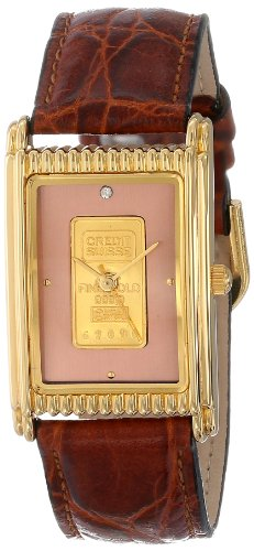 Gold Genuine Swiss (Consort Men's AM983:1/01A03XX Genuine Swiss Gold Ingot Copper Diamond Dial Leather Strap Watch)
