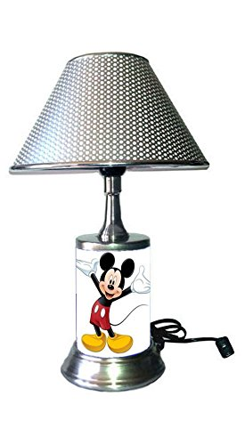(Mickey Mouse Lamp with Chrome Colored Shade)