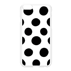 Irregular Black Dots on White Polka Dot Pattern White Hard Plastic Case for iPhone 6 Plus by UltraCases + FREE Crystal Clear Screen Protector