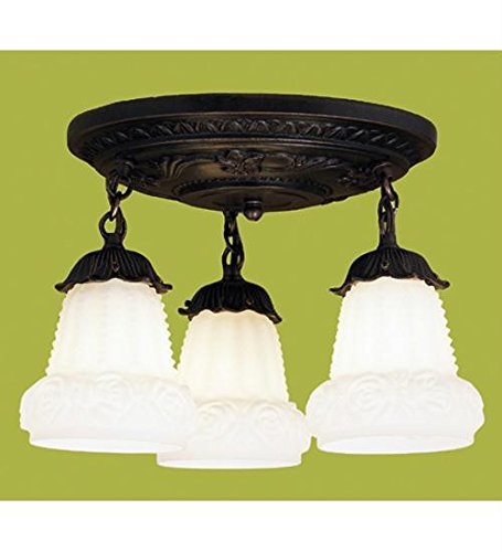 White Puffy Rose 3-Light Shower Semi-Flush Mount