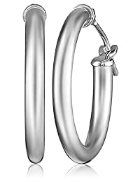 "Klassics 10k White Gold Hoop Earrings, 0.7"" Diameter"