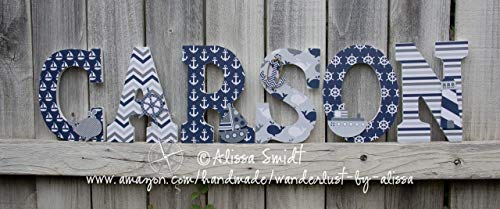 (Nautical Themed Custom Wooden Nursery Letters - PRICE PER LETTER )