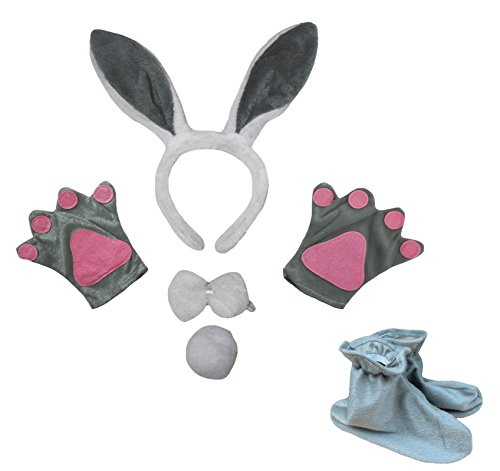 Grey Bunny Headband Bowtie Tail Gloves Shoes 5pc Girl Costume for Party (One Size) (Kids Rabbit Costume)