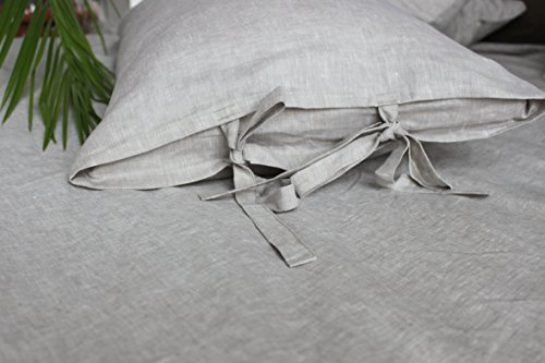 King linen pillow sham cover with bow ties, in natural color, 20 X 36