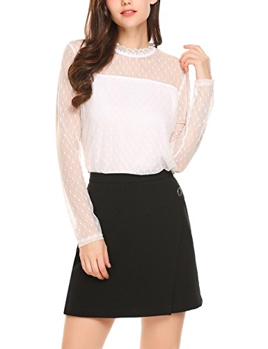 Grabsa Women's Sexy Sheer Mesh Top Lace Mock Neck Blouse Long Sleeve Layered Shirt