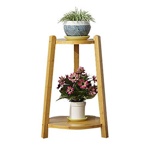 (YYFANG Plant Flower Stand Display Stand Round Plate Triangular Bracket Stereoscopic Floor-Standing 2/3layer Bamboo Wood Simple Modern Indoor, 3 Sizes (Size : Small 30x30x47cm))