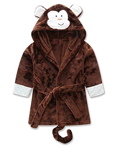 Betusline Children's Cute Cartoon Animal Monkey Hooded Pajamas Bathrobe Towel,Brown,S(Height 39.4