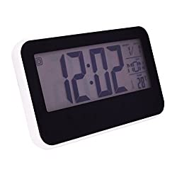 Slash Multifunction Sensor Light Sound Control LCD backlight alarm clock with timer, world time, temperature and snooze function (White Case) S10100