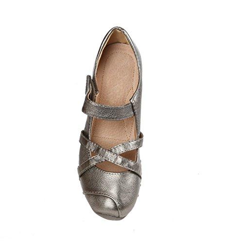 La Modeuse-Bailarinas plana (2 cm, diseño de suela de zapato de tacón con muescas) de punta redonda, diseño de piel sintética y tiras cruzadas en La parte delantera. - plata