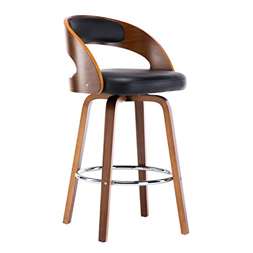 Christies Home Living Wood and Black Faux Leather Mid-Century Modern Swivel Barstool with Back 26-Inch Seat Height